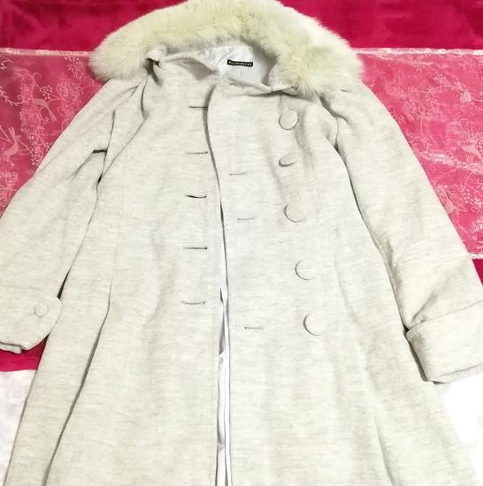 灰グレーブルーフォックスファーアンゴラロングコート/外套/アウター Ash gray blue fox fur angola long coat mantle_画像2