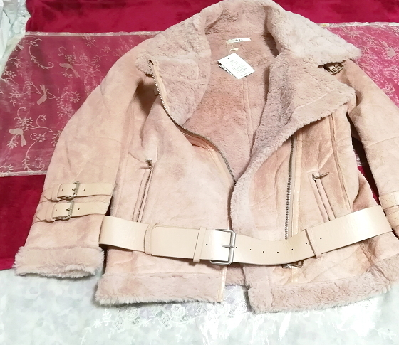 ピンク革柄風ベルトコートタグ付き/外套/アウター Pink belt coat with tag mantle_画像1