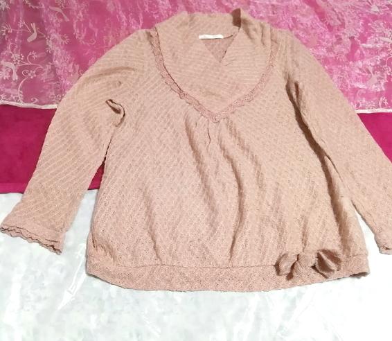 ピンクベージュ薄手リボン付きカットソー長袖/トップス Pink beige thin cut and sewn long sleeve tops_画像3