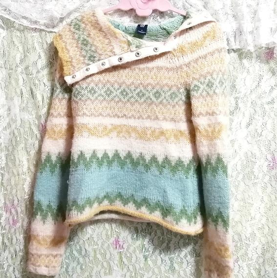 黄緑フローラルホワイトエスニック柄タートルネック長袖/セーター/ニット/トップス Yellow green floral white ethnic sweater knit tops_画像3