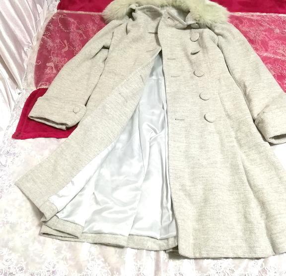 灰グレーブルーフォックスファーアンゴラロングコート/外套/アウター Ash gray blue fox fur angola long coat mantle_画像3