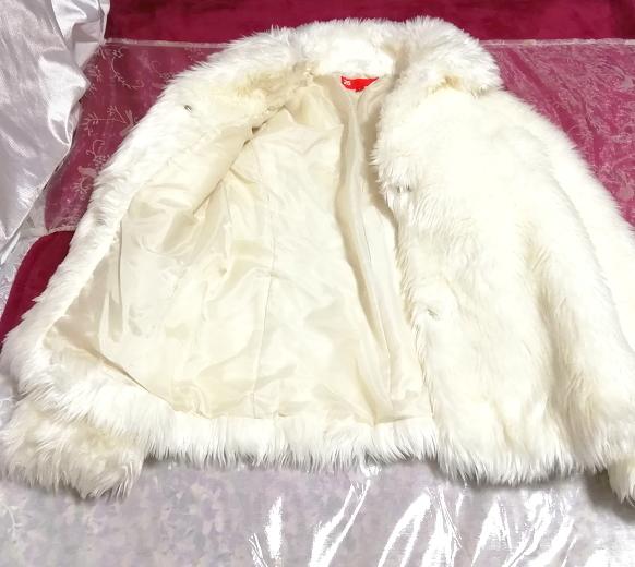 白ホワイトふわふわファーカーディガンコート/外套/アウター White fluffy fur cardigan coat mantle_画像2