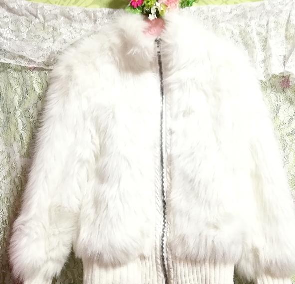 白ホワイトふわふわジャンパーコート/外套/アウター White fluffy coat mantle outer_画像4