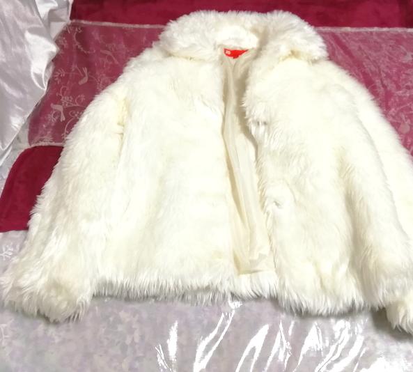 白ホワイトふわふわファーカーディガンコート/外套/アウター White fluffy fur cardigan coat mantle_画像1