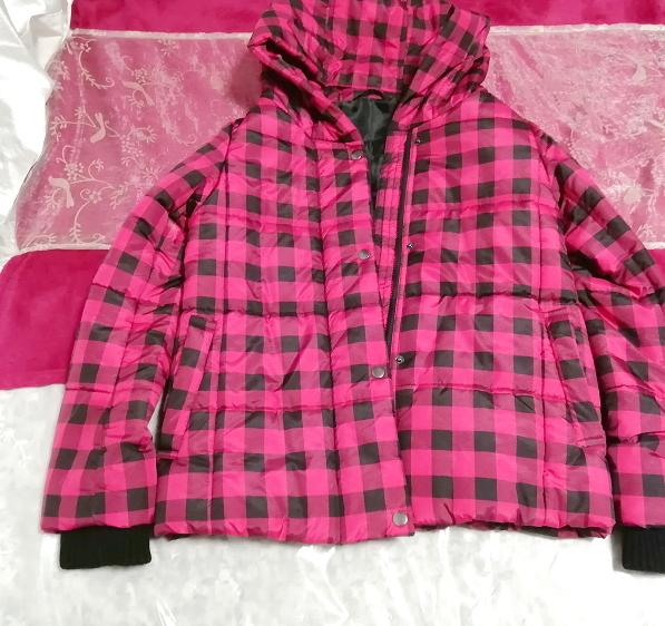 黒ピンクチェック柄ジャンパーコート/外套/アウター Black pink check pattern coat mantle_画像1