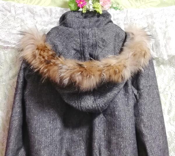CECIL McBEE セシルマクビー 灰グレーラクーンファーフードコート/外套/アウター Ash gray raccon fur hood coat mantle_画像8