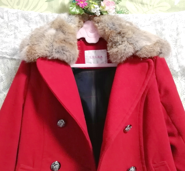 赤レッド亜麻色ラビットファーロングコート/外套/アウター Red flax color rabbit fur long coat mantle_画像6