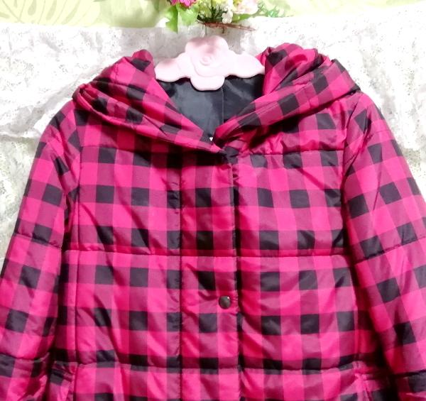 黒ピンクチェック柄ジャンパーコート/外套/アウター Black pink check pattern coat mantle_画像6