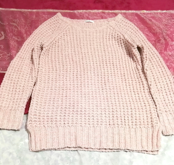 ELLE インドネシア製ピンク編み長袖/セーター/ニット/トップス Made in indonesia pink long sleeve sweater knit tops_画像4