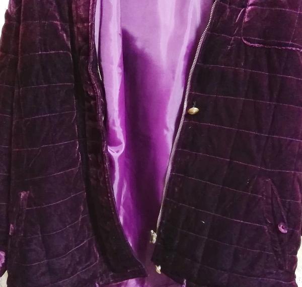 紫パープル光沢ベロアロングフードダウンコート/外套/アウター Purple luster velour long hood down coat mantle_画像7