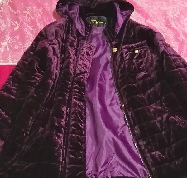 紫パープル光沢ベロアロングフードダウンコート/外套/アウター Purple luster velour long hood down coat mantle_画像2