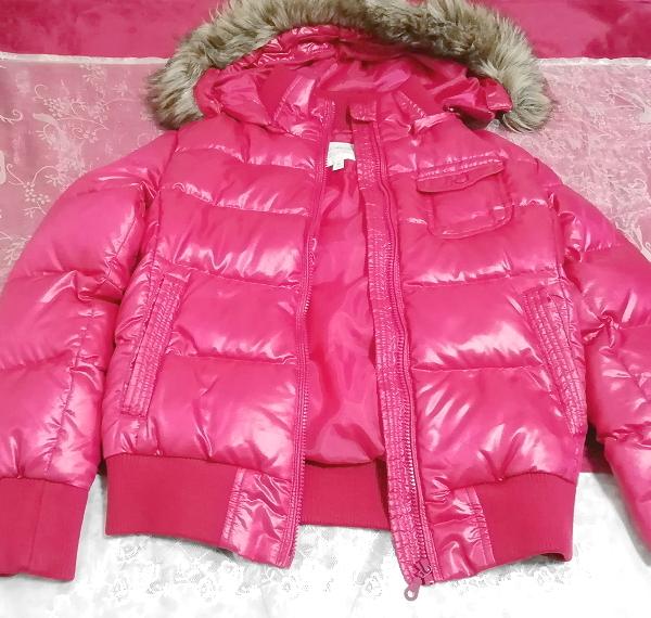 蛍光ピンクマゼンタフード付きショートダウンコート/外套/アウター Fluorescence pink magenta hood short down coat mantle_画像2