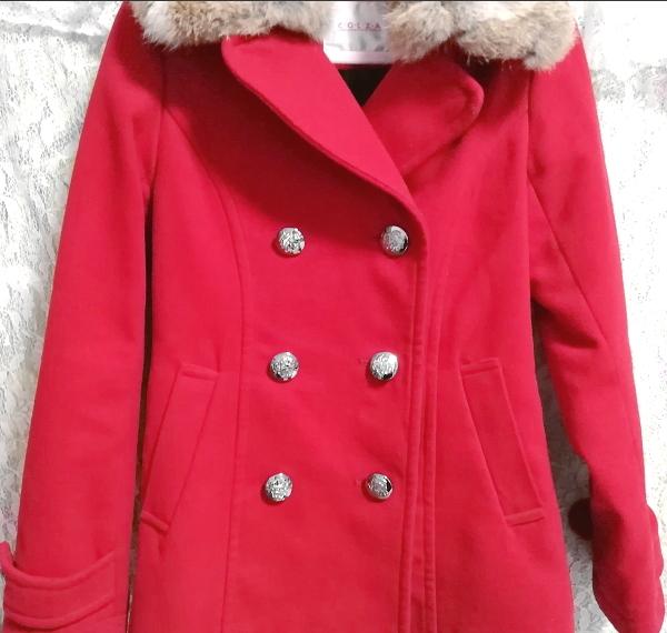 赤レッド亜麻色ラビットファーロングコート/外套/アウター Red flax color rabbit fur long coat mantle_画像4