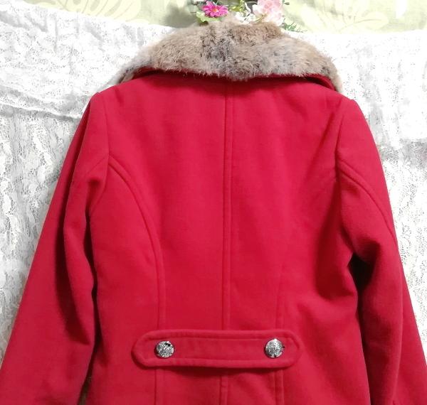 赤レッド亜麻色ラビットファーロングコート/外套/アウター Red flax color rabbit fur long coat mantle_画像5
