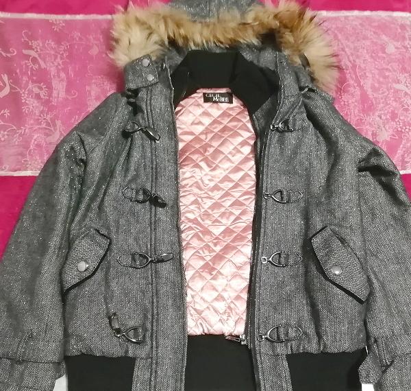 CECIL McBEE セシルマクビー 灰グレーラクーンファーフードコート/外套/アウター Ash gray raccon fur hood coat mantle_画像2