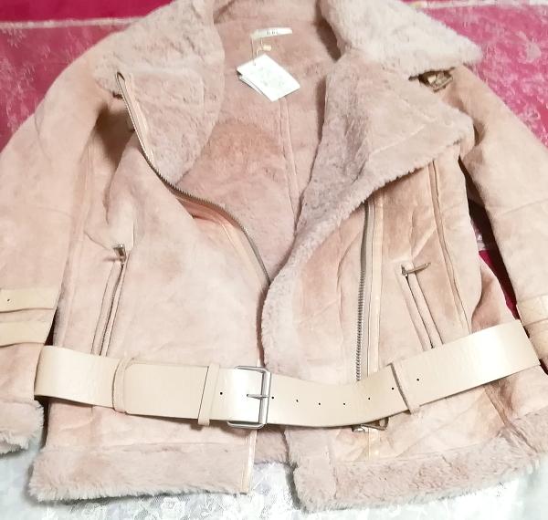 ピンク革柄風ベルトコートタグ付き/外套/アウター Pink belt coat with tag mantle_画像2