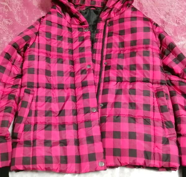 黒ピンクチェック柄ジャンパーコート/外套/アウター Black pink check pattern coat mantle_画像2