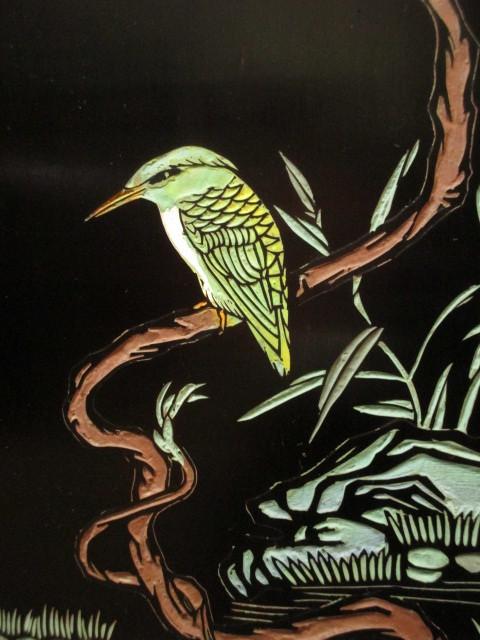 逸品 黒漆 中国美術 彫刻 花鳥図 真鍮金具 茶道具 キャビネット/飾り棚/箪笥/煎茶棚/書棚/本箱/アンティーク_画像10
