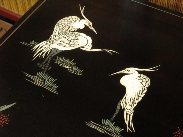 逸品 黒漆 中国美術 彫刻 花鳥図 真鍮金具 茶道具 キャビネット/飾り棚/箪笥/煎茶棚/書棚/本箱/アンティーク_画像5