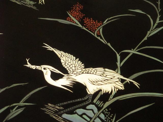 逸品 黒漆 中国美術 彫刻 花鳥図 真鍮金具 茶道具 キャビネット/飾り棚/箪笥/煎茶棚/書棚/本箱/アンティーク_画像7