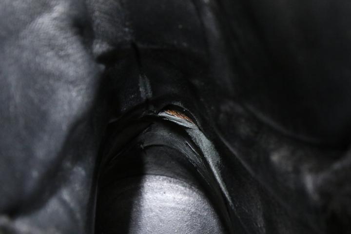 d73ce656e420 GUCCI ムートンブーツ コレクションモデル ボア ショートブーツ レザー スノーブーツ グッチ ライダース メンズ 黒 幅広