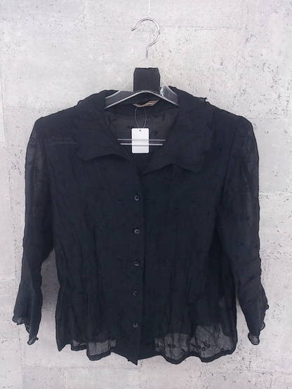 ◇ VENT DE MER ヴァンドメール 花柄 総柄 刺繍 長袖 シャツ ブラウス ブラック * ◆ 1000026537619_画像1