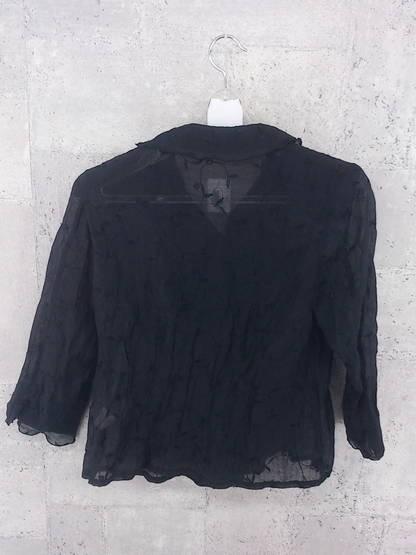 ◇ VENT DE MER ヴァンドメール 花柄 総柄 刺繍 長袖 シャツ ブラウス ブラック * ◆ 1000026537619_画像2