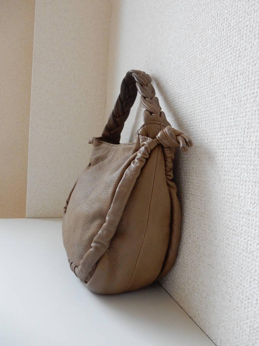 本革☆PAL(パル)肩掛けOK☆ハンドバッグ シャンピニオン_サイド