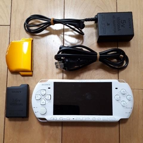 1円スタート! 送料225円! PSP-3000 ホワイト バッテリー 充電器付き