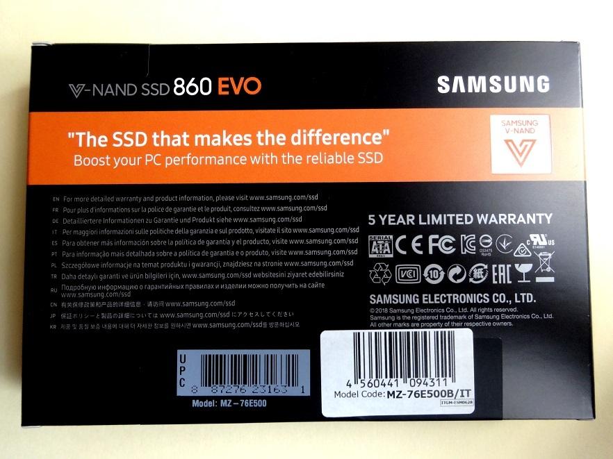 K3E★送料無料:新品未開封「SAMSUNG SSD 860 EVOシリーズ 500GB MZ-76E500B/IT」4年連続No.1サムスン超高速V-NAND SATA 2.5inch SSD 500GB_画像9