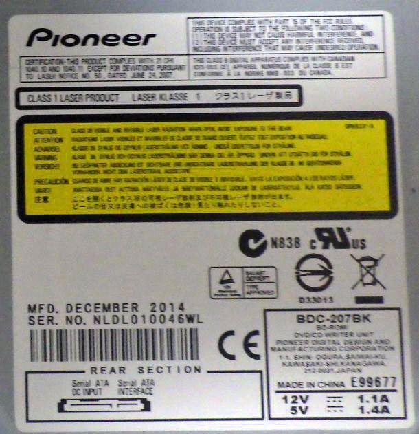 ☆(ジャンク品)ブルーレイ対応光学ドライブ Pioneer BDC-207BK_画像3