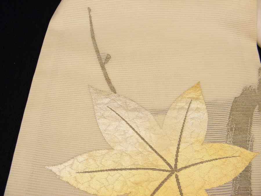 【帯喜楽】夏帯1●開き名古屋帯●薄クリーム地に金銀箔楓_画像5