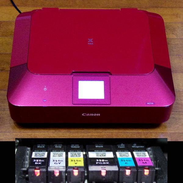 印刷良好 Canon PIXUS 複合機 MG7130 Red 完動品_画像2