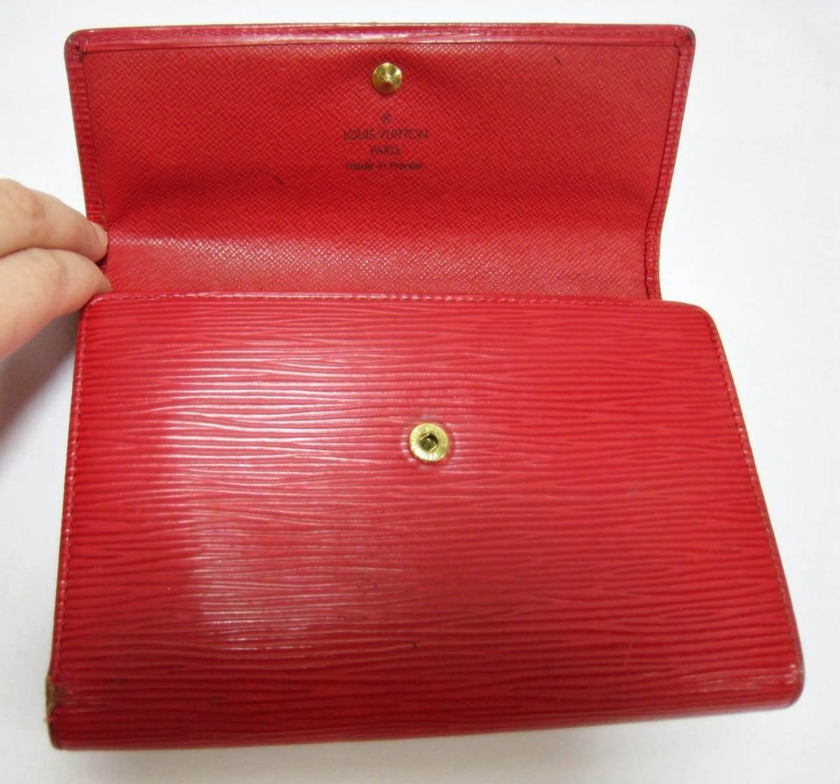 best service cd13a 0662f Louis Vuitton ルイヴィトン 財布 エピ レザー 赤 レッド 3つ折り ウォレット ブランド 有名ブランド 本物保障 LV ヴィトン