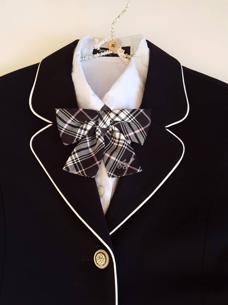 美品*豪華でかわいい* ポンポネット 正統派フォーマル スーツ 4点セット 160㎝ ブレザー スカート リボンタイ ブラウス*入学式 卒業式