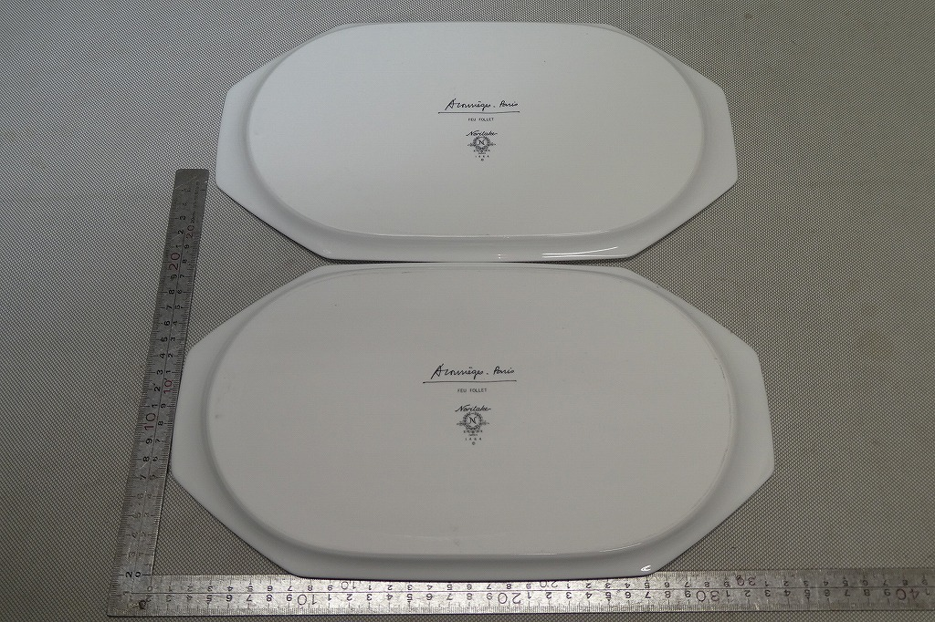 ●ノリタケ Noritake クレージュ FEU FOLLET ハイビスカス 長皿 2枚 ペア ディナープレート デザート皿 ケーキ皿 トレイ パーティー皿●_画像5