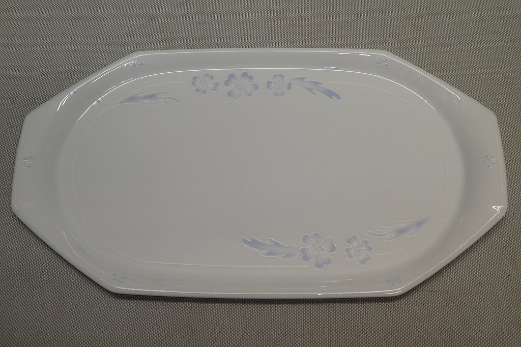 ●ノリタケ Noritake クレージュ FEU FOLLET ハイビスカス 長皿 2枚 ペア ディナープレート デザート皿 ケーキ皿 トレイ パーティー皿●_画像3