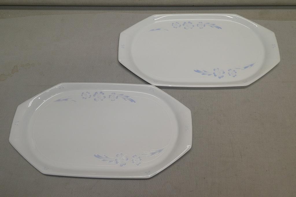 ●ノリタケ Noritake クレージュ FEU FOLLET ハイビスカス 長皿 2枚 ペア ディナープレート デザート皿 ケーキ皿 トレイ パーティー皿●_画像7