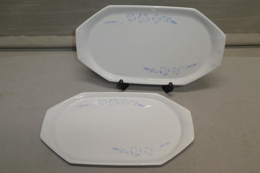 ●ノリタケ Noritake クレージュ FEU FOLLET ハイビスカス 長皿 2枚 ペア ディナープレート デザート皿 ケーキ皿 トレイ パーティー皿●_画像1