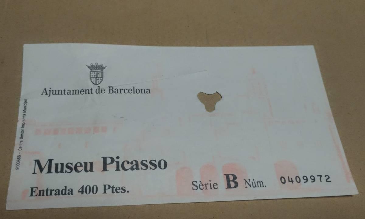 送料無料■使用済み 入場チケット 1990年度 美品■ピカソ美術館 入場券 パブロ・ピカソ・コレクション バルセロナ スペイン レア 印刷物_画像1
