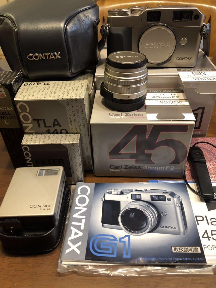 超美品 CONTAX G1 Carl Zeiss 2/45 TLA140 ストロボ カメラケース GC-11 ケーブルスイッチL 元箱 取説付き