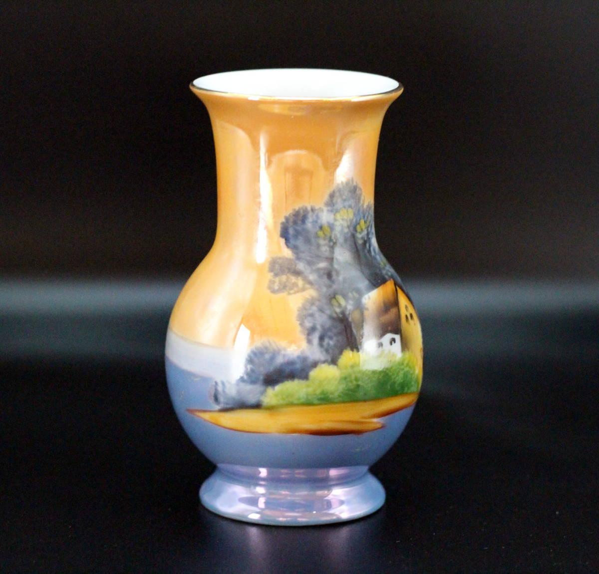 オールドノリタケ 青オレンジ ラスター彩 風景画デザイン 花瓶 ベース【2本セット】_画像3