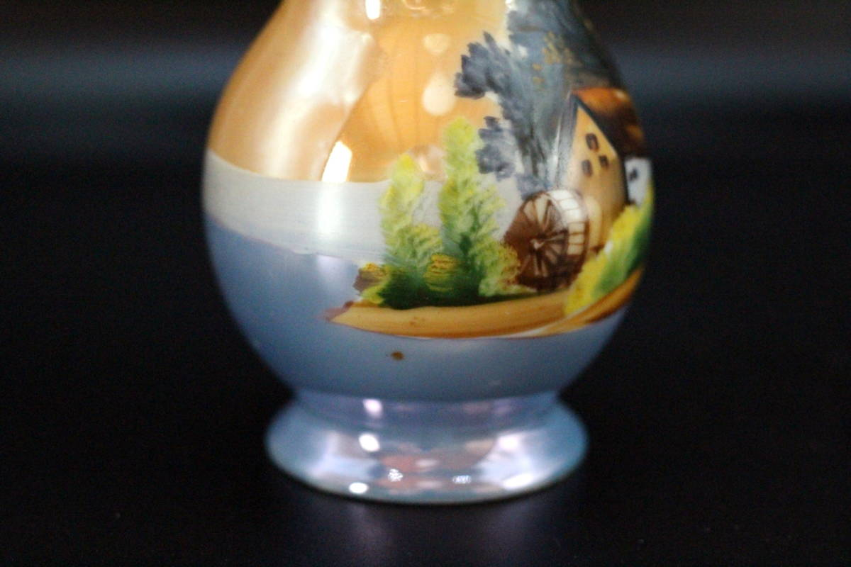 オールドノリタケ 青オレンジ ラスター彩 風景画デザイン 花瓶 ベース【2本セット】_画像8