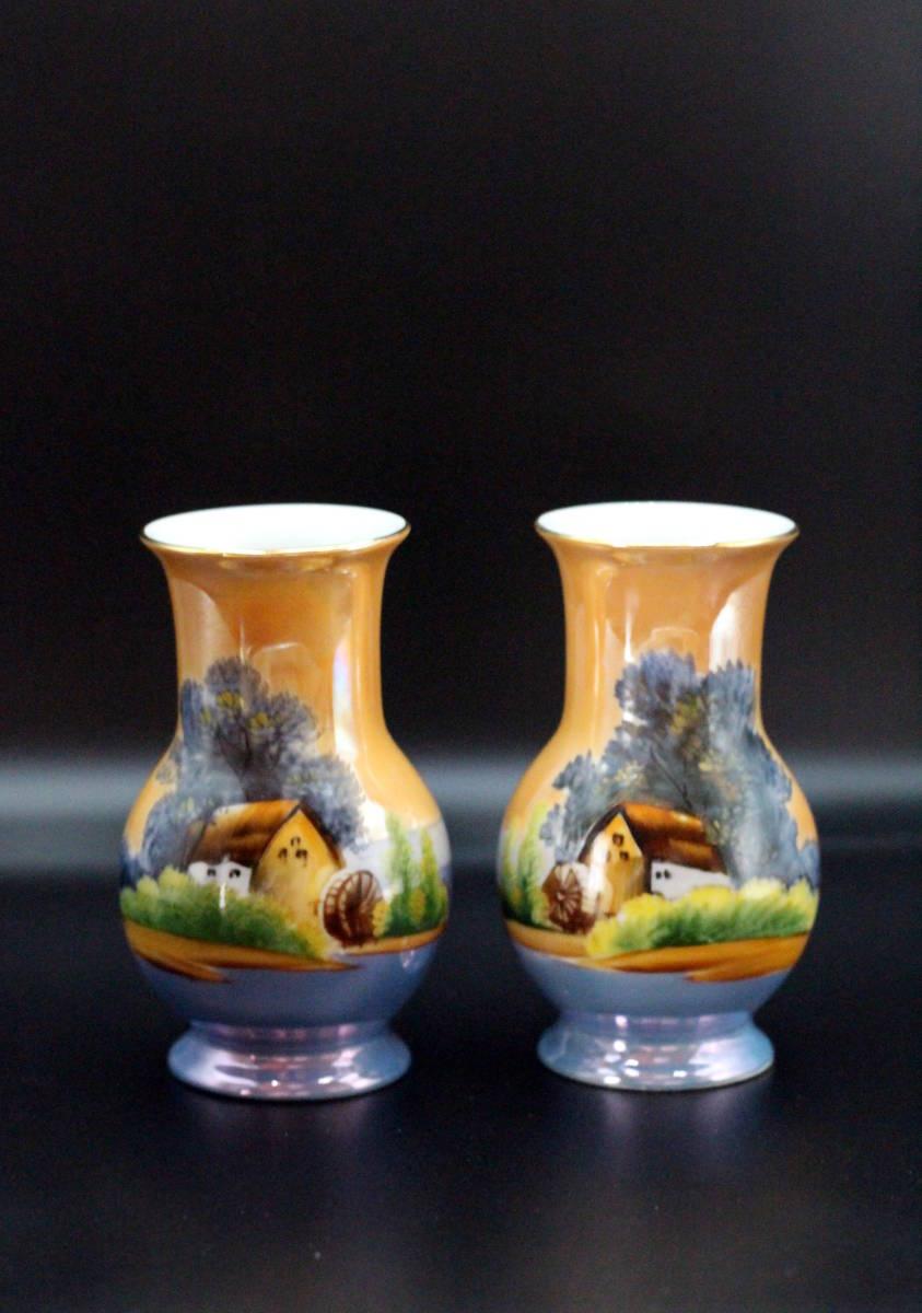 オールドノリタケ 青オレンジ ラスター彩 風景画デザイン 花瓶 ベース【2本セット】