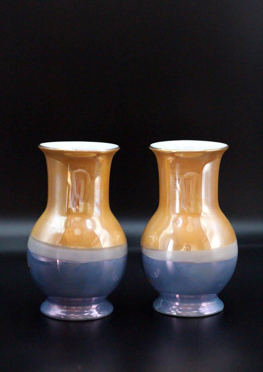 オールドノリタケ 青オレンジ ラスター彩 風景画デザイン 花瓶 ベース【2本セット】_画像2