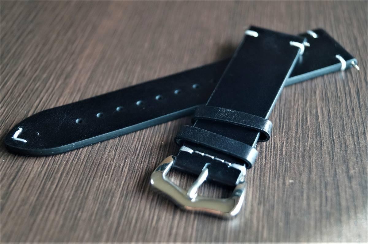 新品 時計バンド レトロカーフレザーウォッチバンドストラップ22mm ピンバックル、バネ棒付属 ブラック 黒