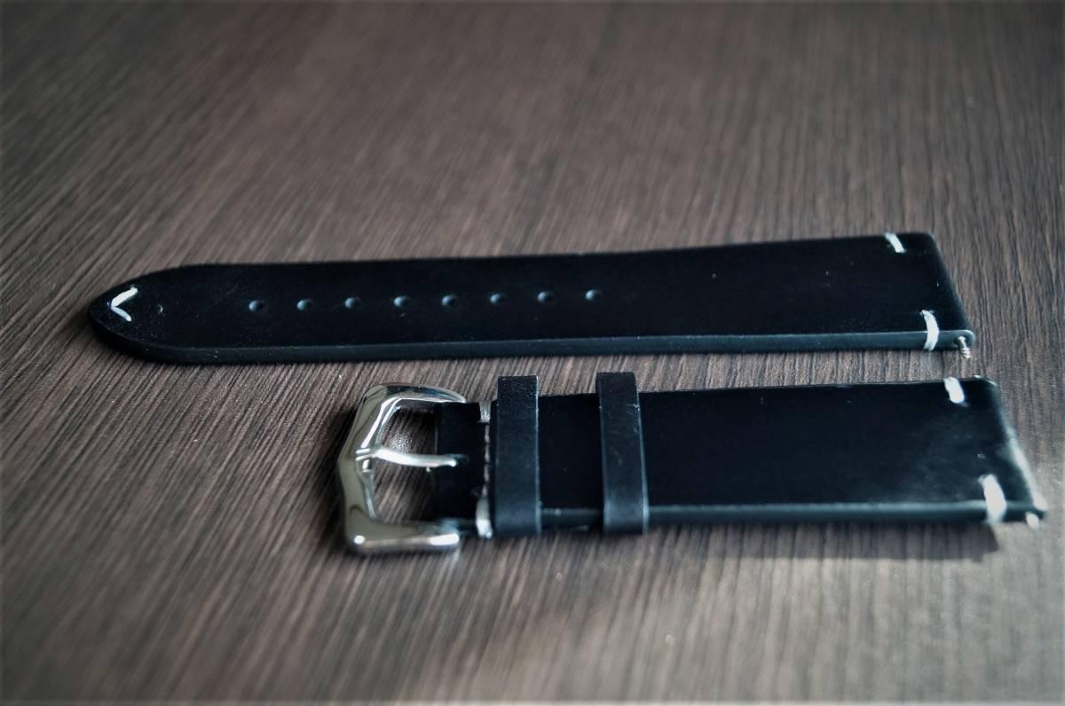 新品 時計バンド レトロカーフレザーウォッチバンドストラップ22mm ピンバックル、バネ棒付属 ブラック 黒_画像3