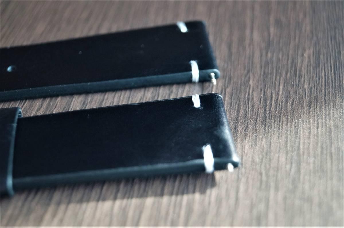新品 時計バンド レトロカーフレザーウォッチバンドストラップ22mm ピンバックル、バネ棒付属 ブラック 黒_画像4