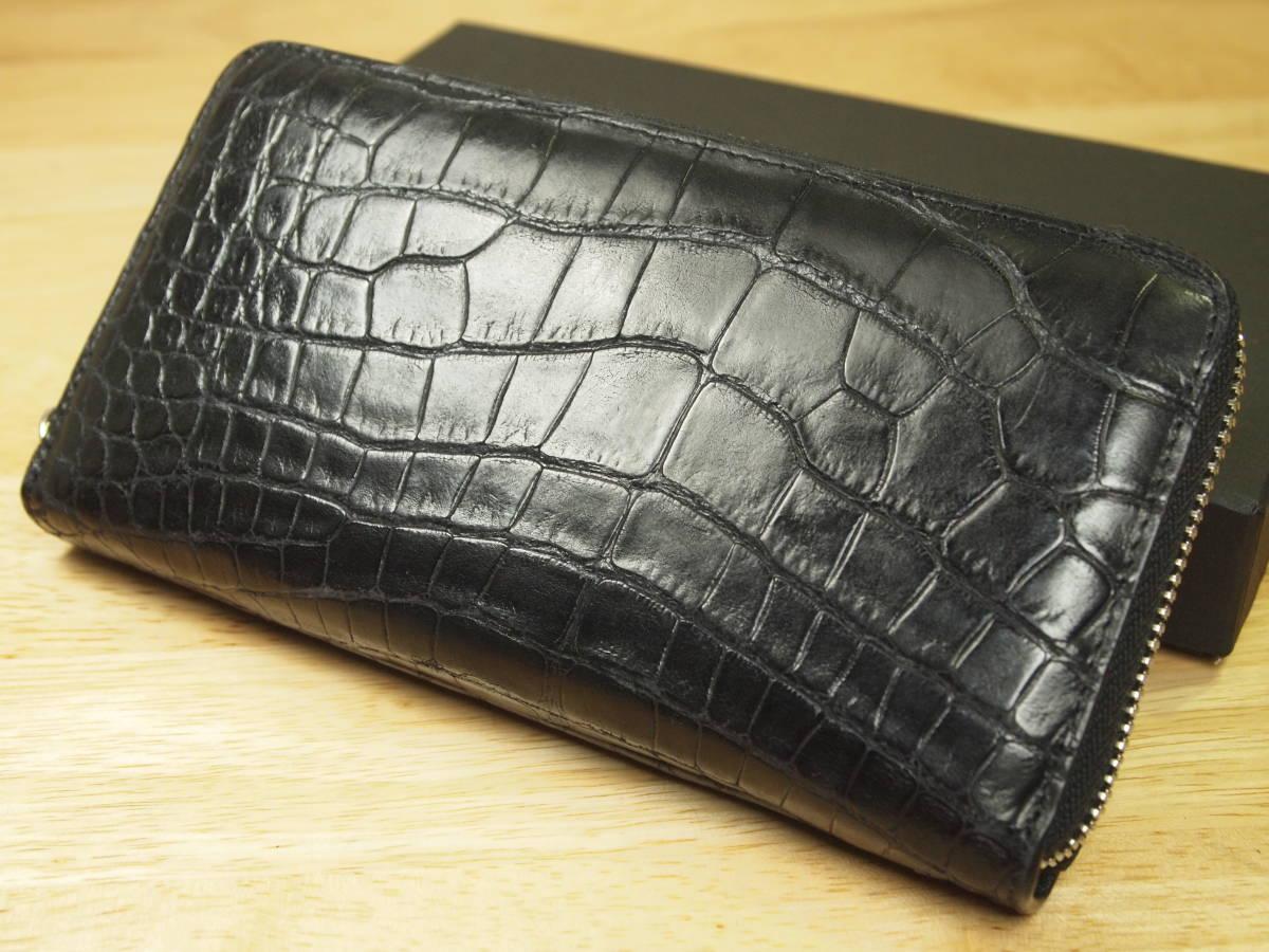 99daf5f49fda 代購代標第一品牌- 樂淘letao - 新品箱有り最高峰本物マットクロコダイルCROCODILE 高級長財布黒定価10万( ロングウォレット ワニ皮鰐革アリゲーター