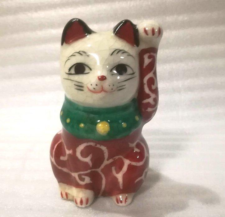【送料560円~】 《H67》 磁器 左手 左 唐草 招き猫 (茶 招猫 招福 開運 //絵付けに多少ムラがございますが、傷等はございません